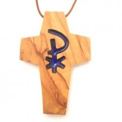 Croix de cou en olivier - Croix PAX bleue