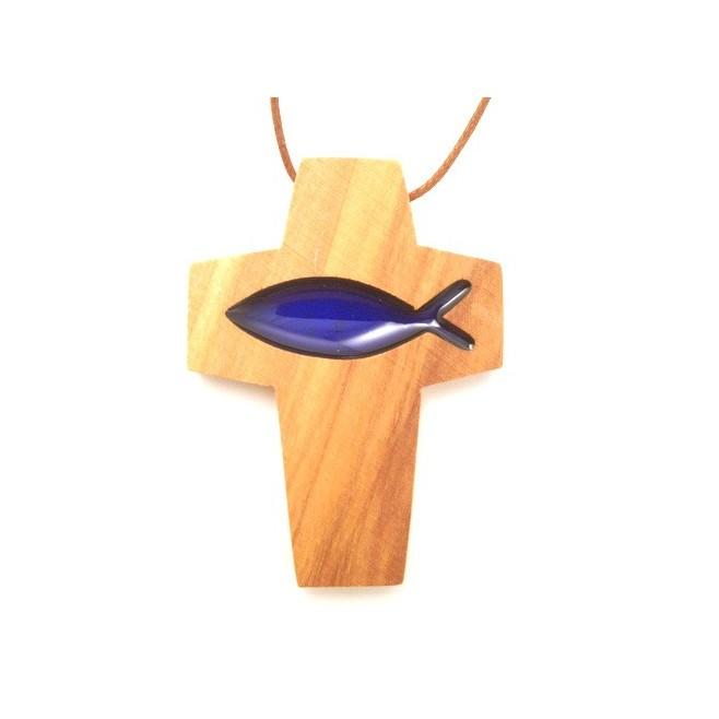 Croix de cou en olivier - Croix poisson bleue