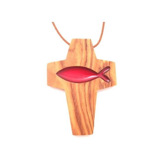 Croix de cou en olivier - Croix poisson rouge