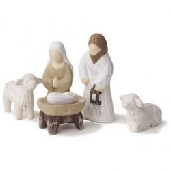 Crèche de Noël en bois - 5 santons