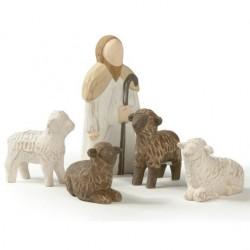 Crèche de Noël en bois - Berger et 4 moutons