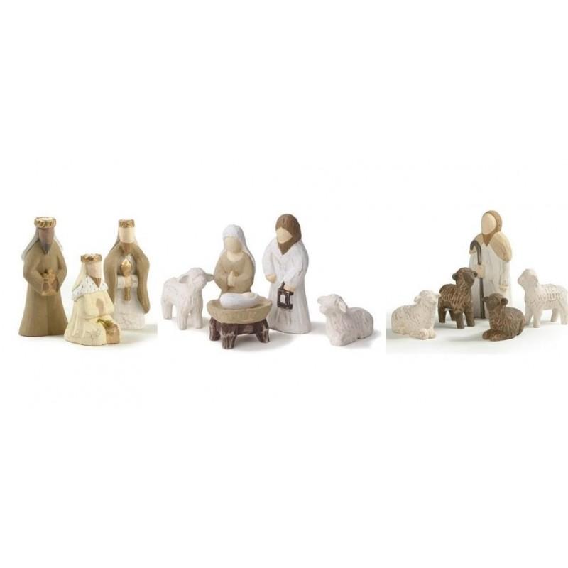 cr che de no l en bois 12 santons comptoir religieux. Black Bedroom Furniture Sets. Home Design Ideas