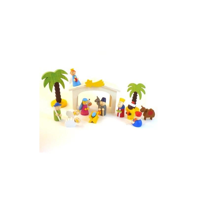 Creche De Noel Enfant Creche de Noel en bois pour enfants   13 santons+ décors | Comptoir