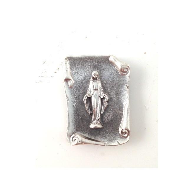 Plaque auto argentée Christ Miséricordieux