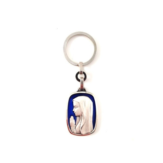 Porte-clés Vierge émaillée bleu