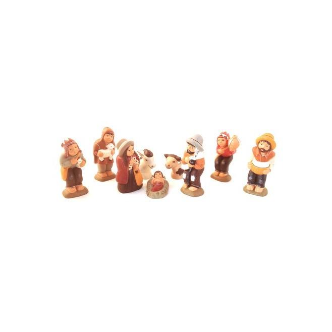 Creche péruvienne terre cuite - 8 santons