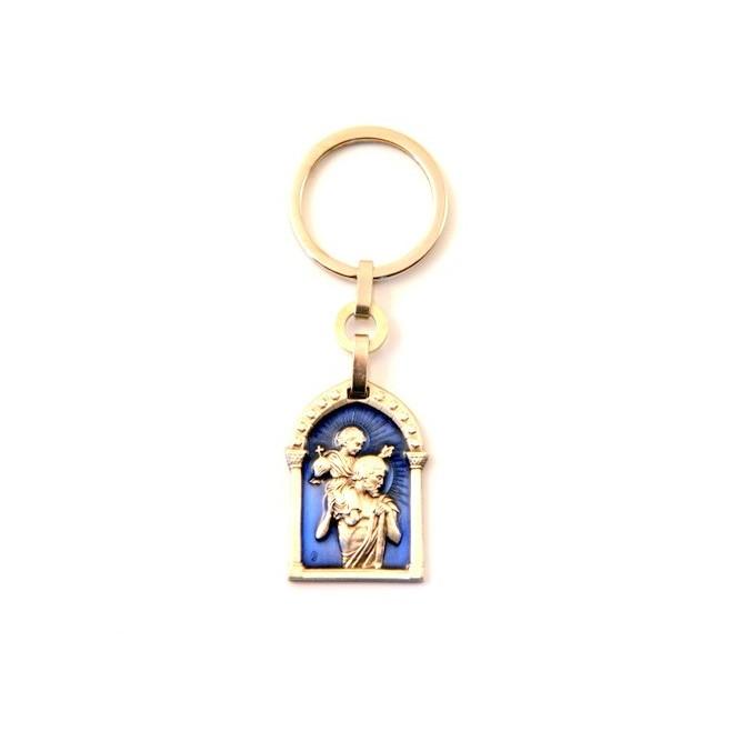 Porte-clés rectangulaire St Christophe emaillé