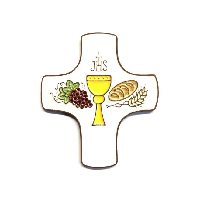 Cadeau pour communion Croix céramique bleu foncé