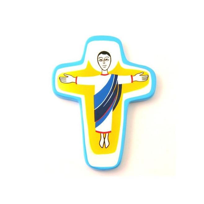 Croix enfant en bois - Christ ressuscité