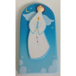 Cadre religieux en bois - Ange Bougie bleu