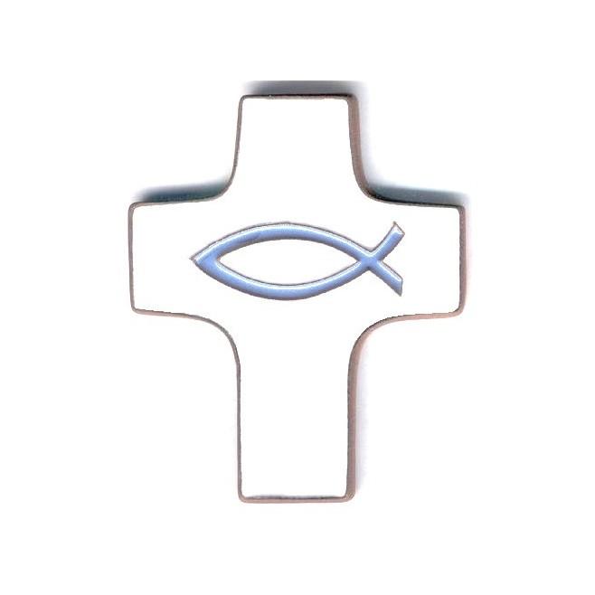 Croix céramique blanche poisson bleu