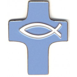 Croix céramique bleue poisson blanc