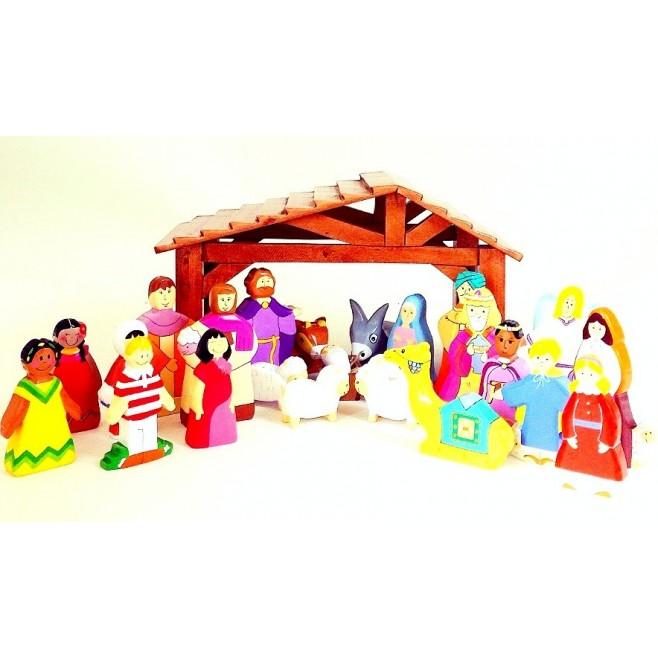 Crèche de Noël en bois - 24 santons et étable