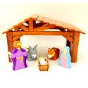 Crèche de noël en bois - 5 santons et étable