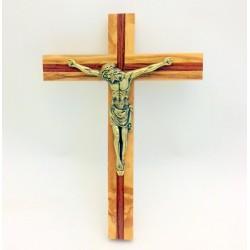 Crucifix en bois d'olivier et Christ en bronze