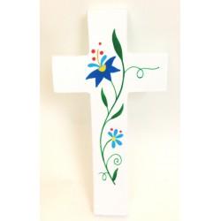 Croix d'Amour - Fleurs Bleues