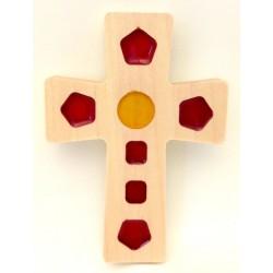 Croix en Érable - carré rouge