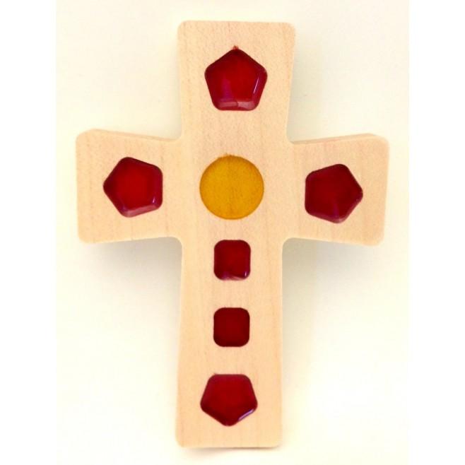 Croix en Olivier - Croix vitrail
