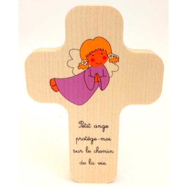 """Croix en érable """"Ange fille"""""""