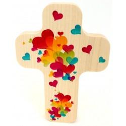 """Croix en érable """"Amour"""""""