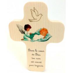 """Croix en érable """"bébé garçon"""""""