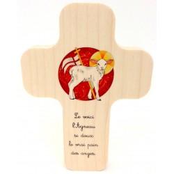 """Croix en érable """"Agneau de Dieu"""""""