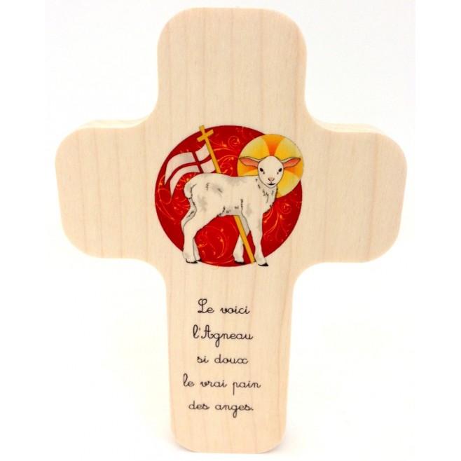 """Croix en érable """"Jésus sois mon guide"""""""