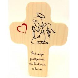 """Croix en érable """"Je suis le pain de vie"""""""