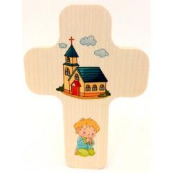 """Croix en érable """"Église avec fille"""""""