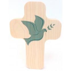 """Croix en érable """"Église avec garçon"""""""
