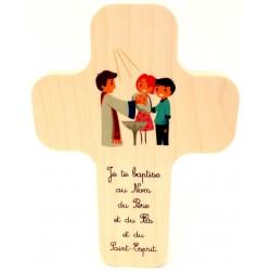 """Croix en érable """"Ange Gardien"""""""