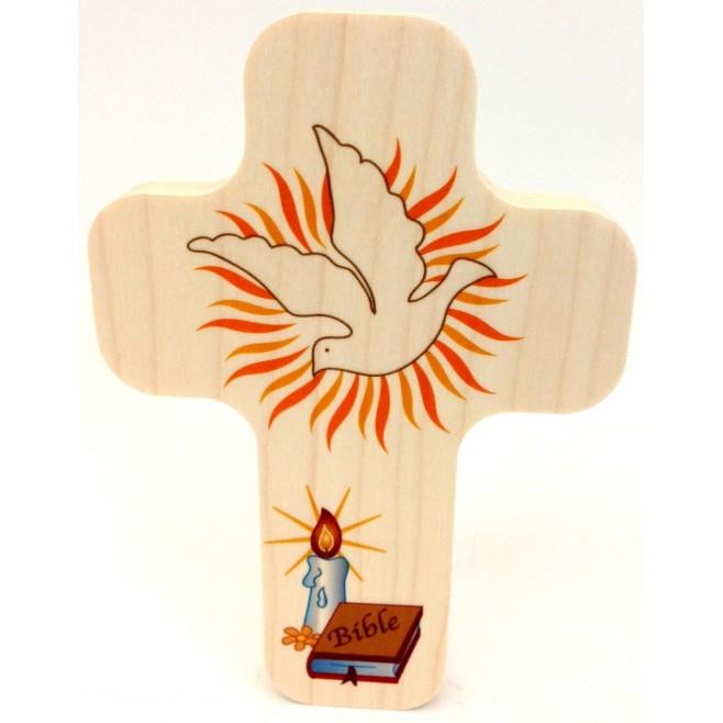 """Croix en érable """"Baptême"""""""
