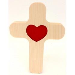 """Croix en érable """"Coeur rouge"""""""