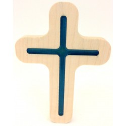 Croix en bois d'érable et résine bleue