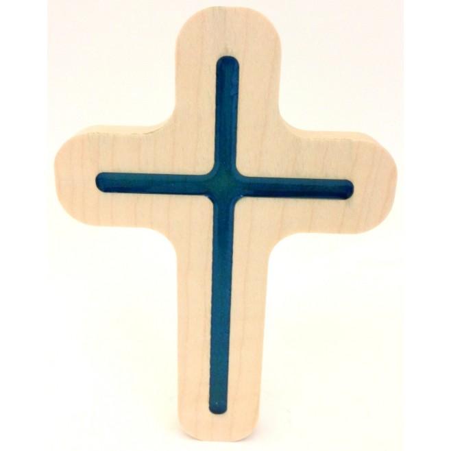 Croix en bois d'érable et résine rouge