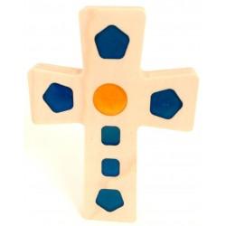 Croix en Érable - carré bleu