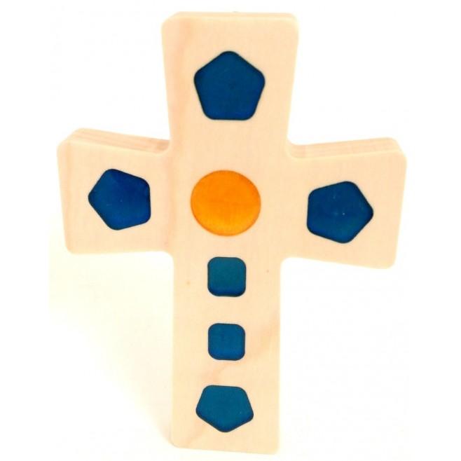 Croix en Érable - carré jaune