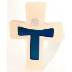 """Croix en érable """"Christ moderne"""" résine rouge"""