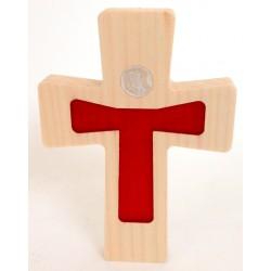 """Croix en érable """"Christ moderne"""" résine bleue"""