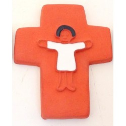 Croix agneau céramique bistre