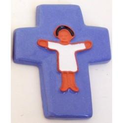 Croix enfant céramique bleue