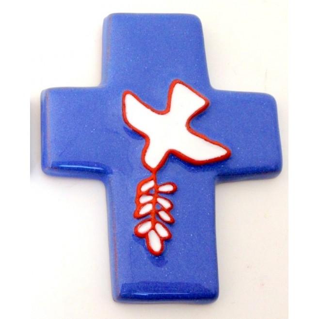 Croix colombe à l'épi céramique blanche