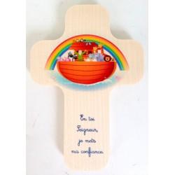 """Croix en érable """"Arche de Noé"""""""