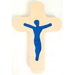 Croix avec Christ en résine bleue