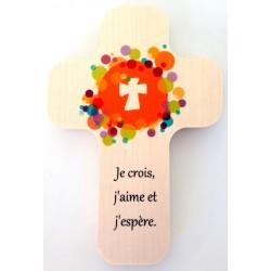 """Croix en érable """"Une colombe et des enfants"""""""