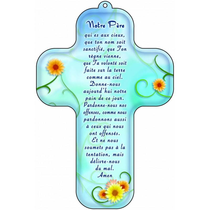 Top Croix bleu prière Notre Père | Comptoir Religieux FX11