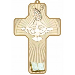 Croix dorée Esprit Saint Baptême