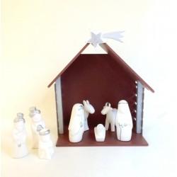 Crèche 9 santons céramique blanche et argent