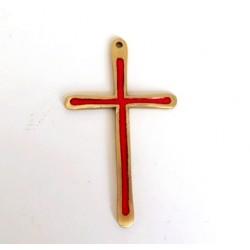Crucifix en bronze émaillé rouge - 10cm
