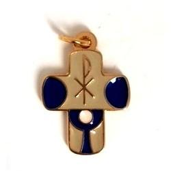 Croix de cou emaillée bleue communion